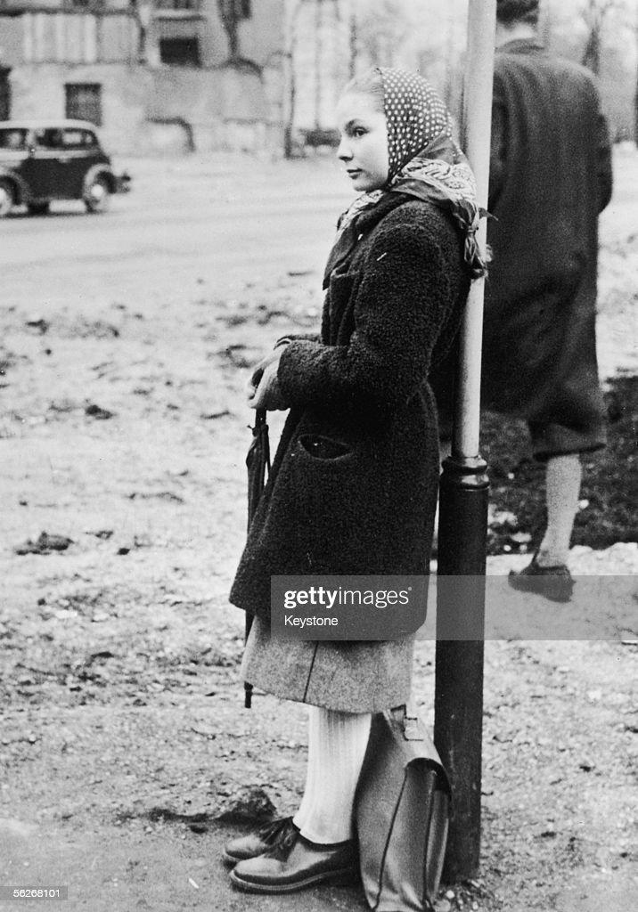 Edda Goering, daughter of Nazi leader Hermann Goering, on her way to school in Munich, circa 1950.
