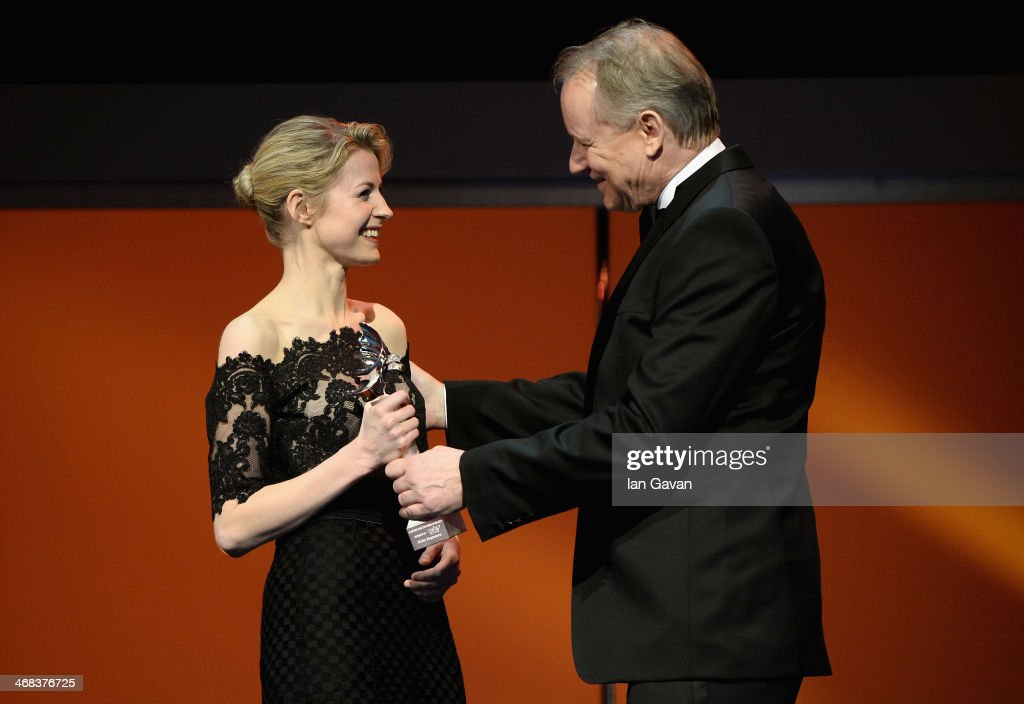 Edda Magnason and <a gi-track='captionPersonalityLinkClicked' href=/galleries/search?phrase=Stellan+Skarsgard&family=editorial&specificpeople=233516 ng-click='$event.stopPropagation()'>Stellan Skarsgard</a> on stage at the Shooting Stars stage presentation during the 64th Berlinale International Film Festival at the Berlinale Palast on February 10, 2014 in Berlin, Germany.