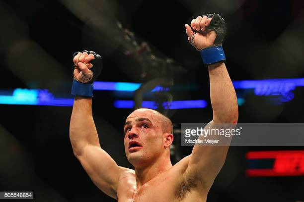 Eddie Alvarez celebrates defeating Anthony Pettis in their lightweight bout during UFC Fight Night 81 at TD Banknorth Garden on January 17 2016 in...
