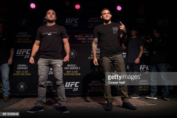 Eddie Alvarez faces off with Dustin Poirier during the UFC 211 Ultimate Media Day at the House of Blues Dallas on May 10 2017 in Dallas Texas