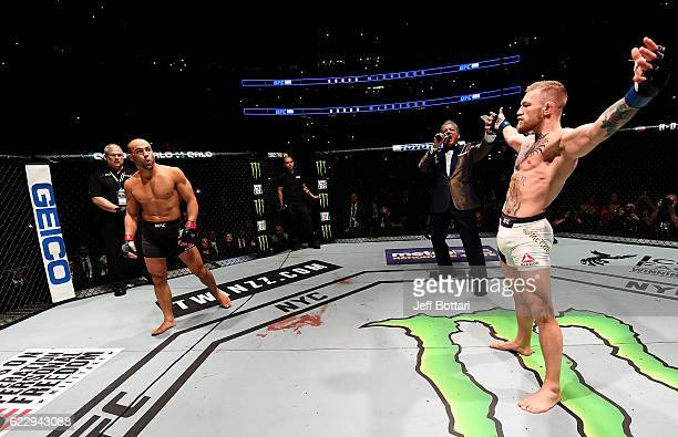 Eddie Alvarez of the United States prepares for his fight against Conor McGregor of Ireland in their lightweight championship bout during the UFC 205...