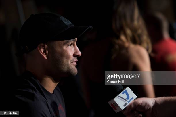 Eddie Alvarez speaks to the media during the UFC 211 Ultimate Media Day at the House of Blues Dallas on May 10 2017 in Dallas Texas