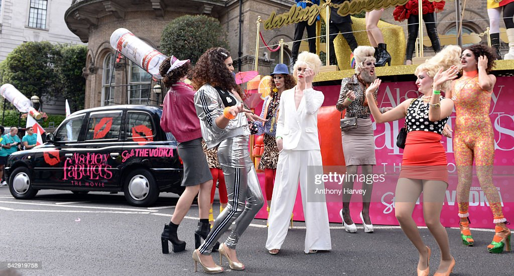 Eddie and Patsy lookalikes of the stars of 'Absolutely Fabulous: The Movie' attend Pride on June 25, 2016 in London, England.