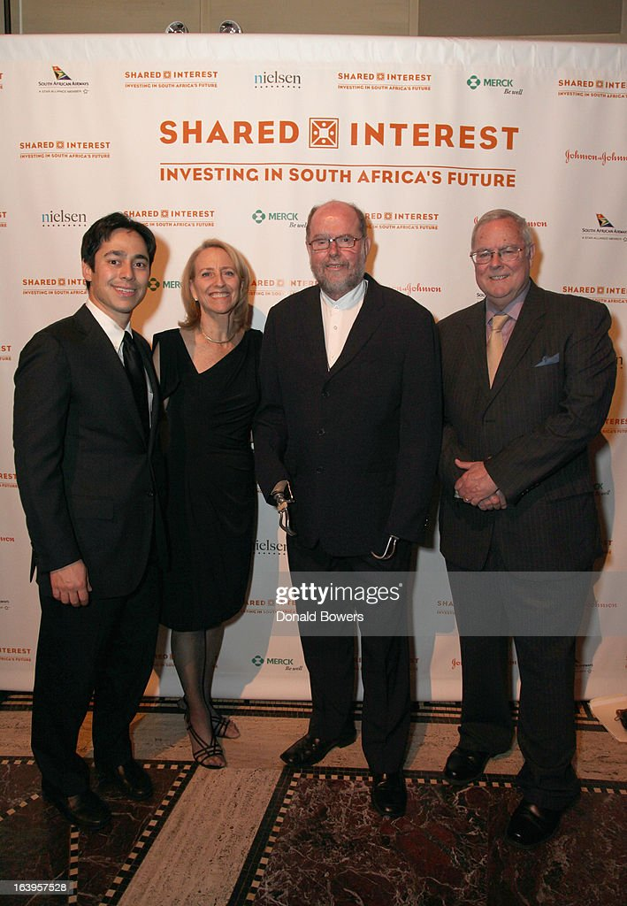 Eddie Bergman, Executive Director of Shared Interest Donna Katzin, Father Michael Lapsley, and Tim Smith attend the Shared Interest 19th Annual Awards Gala on March 18, 2013 in New York City.