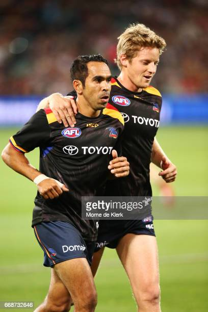 Eddie Betts and Rory Sloane of the Crows prepare for the round four AFL match between the Adelaide Crows and the Essendon Bombers at Adelaide Oval on...