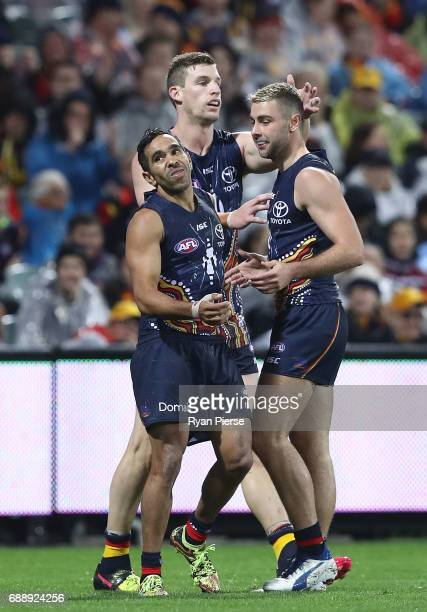Eddie Betts of the Crows celebrates a goal during the round 10 AFL match between the Adelaide Crows and the Fremantle Dockers at Adelaide Oval on May...