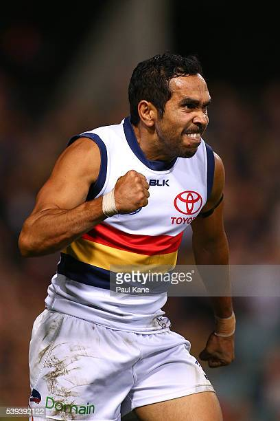 Eddie Betts of the Crows celebrates a goal during the round 12 AFL match between the West Coast Eagles and the Adelaide Crows at Domain Stadium on...