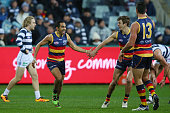 Eddie Betts of the Crows celebrates a goal during the round 18 AFL match between the Geelong Cats and the Adelaide Crows at Simonds Stadium on July...