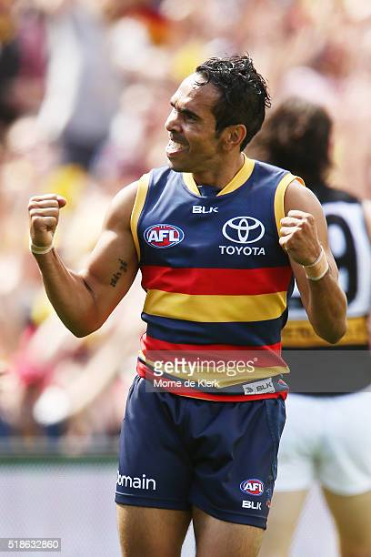 Eddie Betts of the Crows celebrates after kicking a goal during the round two AFL match between the Adelaide Crows and the Port Adelaide Power at...