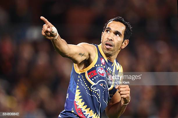 Eddie Betts of the Crows celebrates after kicking a goal during the round 10 AFL match between the Adelaide Crows and the Greater Western Sydney...