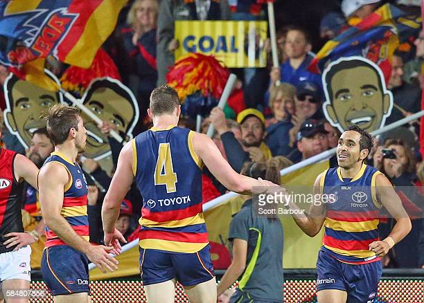 Eddie Betts of the Crows celebrates after kicking a goal during the round 19 AFL match between the Adelaide Crows and the Essendon Bombers at...