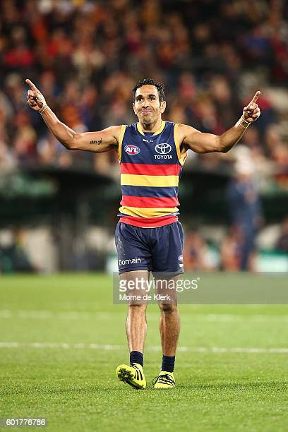 Eddie Betts of the Crows celebrates after kicking a goal during the AFL 1st Elimination Final match between the Adelaide Crows and the North...