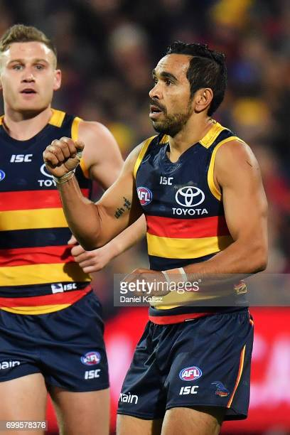 Eddie Betts of the Crows celebrates after kicking a goal during the round 14 AFL match between the Adelaide Crows and the Hawthorn Hawks at Adelaide...