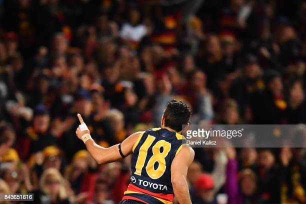 Eddie Betts of the Crows celebrates after kicking a goal during the AFL First Qualifying Final match between the Adelaide Crows and the Greater...
