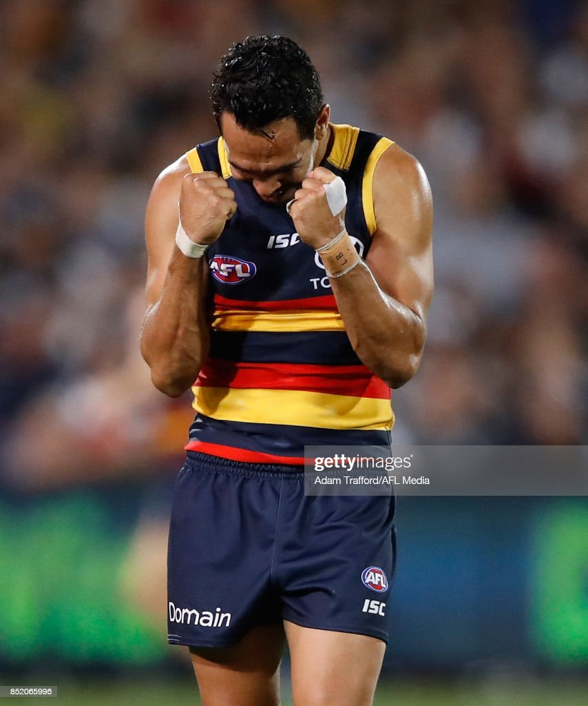 Eddie Betts of the Crows celebrates making it through to the grand final after asking the bench how long is left in the game during the 2017 AFL First Preliminary Final match between the Adelaide Crows and the Geelong Cats at Adelaide Oval on September 22, 2017 in Adelaide, Australia.