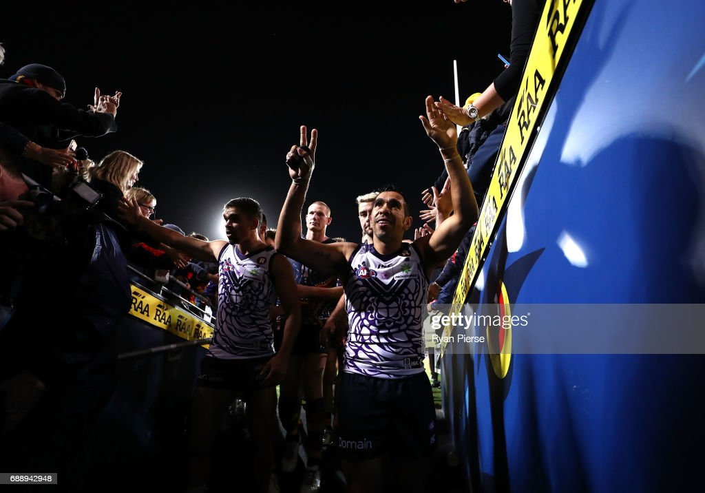 Eddie Betts of the Crows celebrates victory after the round 10 AFL match between the Adelaide Crows and the Fremantle Dockers at Adelaide Oval on May 27, 2017 in Adelaide, Australia.