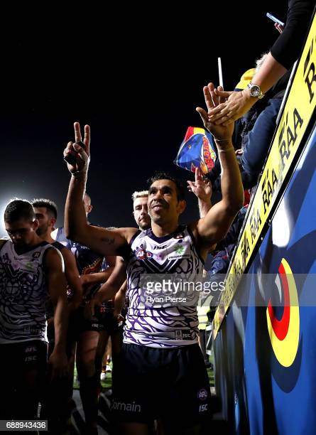 Eddie Betts of the Crows celebrates victory after the round 10 AFL match between the Adelaide Crows and the Fremantle Dockers at Adelaide Oval on May...