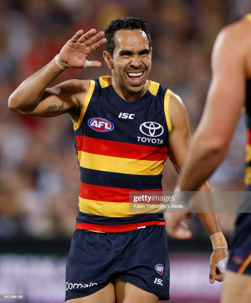 Eddie Betts of the Crows (left) celebrates with Taylor Walker of the Crows during the 2017 AFL First Preliminary Final match between the Adelaide Crows and the Geelong Cats at Adelaide Oval on September 22, 2017 in Adelaide, Australia.