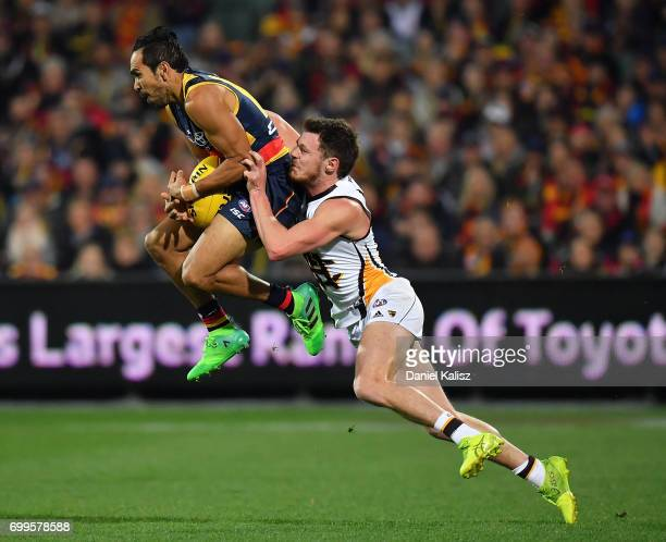 Eddie Betts of the Crows marks the ball during the round 14 AFL match between the Adelaide Crows and the Hawthorn Hawks at Adelaide Oval on June 22...