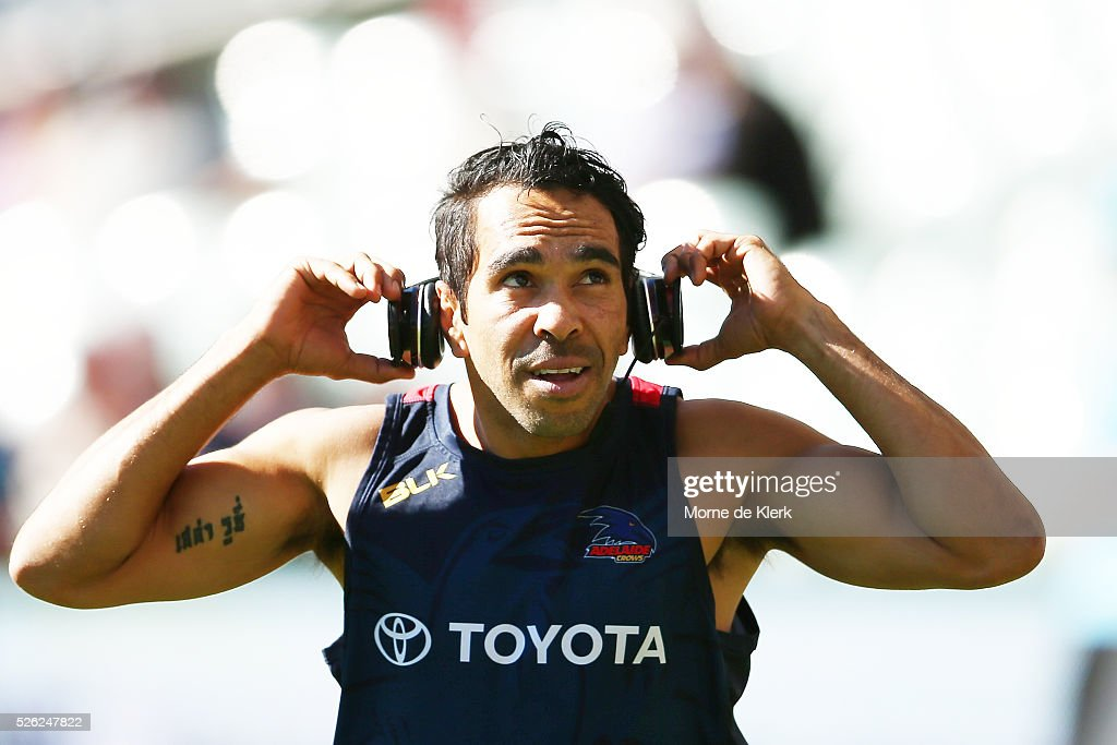 Eddie Betts of the Crows prepares for the match before the round six AFL match between the Adelaide Crows and the Fremantle Dockers at Adelaide Oval on April 30, 2016 in Adelaide, Australia.