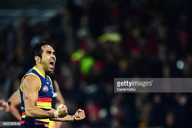 Eddie Betts of the Crows reacts after scoring a goal during the round 19 AFL match between the Adelaide Crows and Richmond Tigers at Adelaide Oval on...