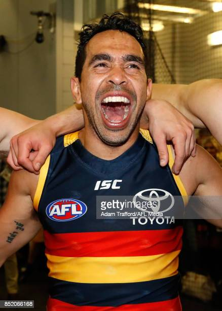 Eddie Betts of the Crows sing the team song during the 2017 AFL First Preliminary Final match between the Adelaide Crows and the Geelong Cats at...