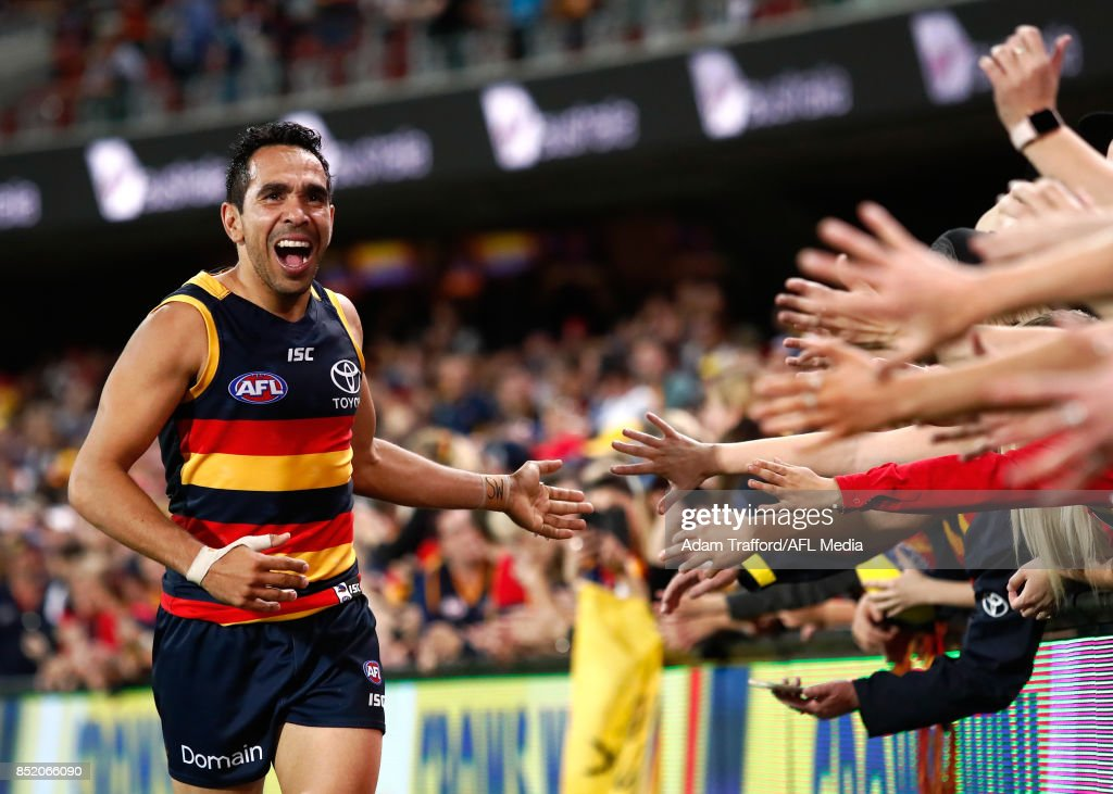 Eddie Betts of the Crows thanks fans during the 2017 AFL First Preliminary Final match between the Adelaide Crows and the Geelong Cats at Adelaide Oval on September 22, 2017 in Adelaide, Australia.