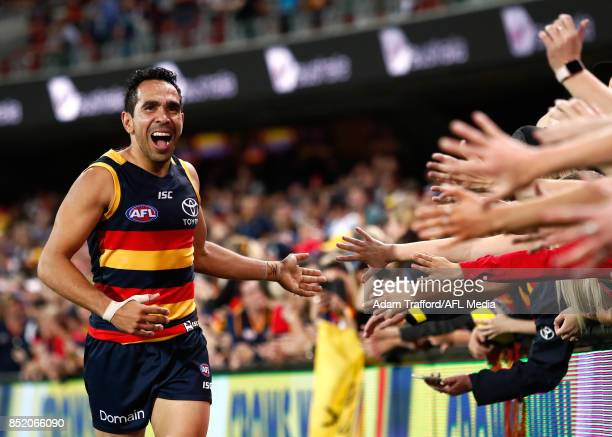 Eddie Betts of the Crows thanks fans during the 2017 AFL First Preliminary Final match between the Adelaide Crows and the Geelong Cats at Adelaide...