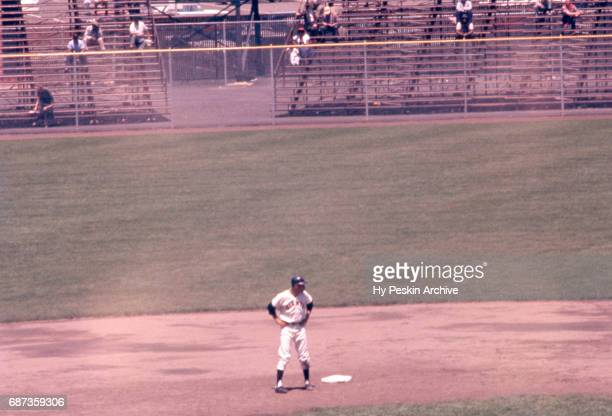 Eddie Bressoud of the San Francisco Giants stands next to second base during an MLB game against the Chicago Cubs on June 1 1960 at Candlestick Park...