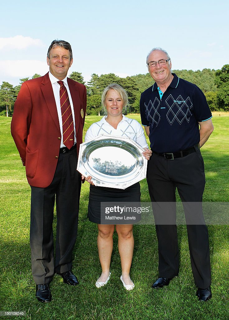 Eddie Bullock, Captain of the PGA and Colin Mee, Managing Director of Glenmuir pictured with Alexandra Keighley of Huddersfield Golf Club after winning the Glenmuir PGA Professional Championship at Carden Park Golf Club on August 10, 2012 in Chester, England.