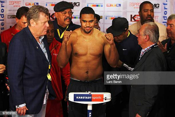 Eddie Chambers of USA poses during the weigh in for the WBO Heavyweight World Championship fight against Wladimir Klitschko of Ukraine on March 19...