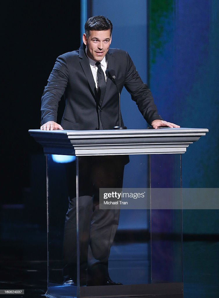 Eddie Cibrian speaks onstage at the 44th NAACP Image Awards - show held at The Shrine Auditorium on February 1, 2013 in Los Angeles, California.