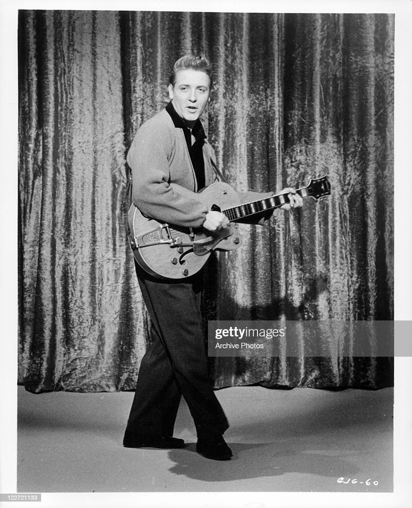 Eddie Cochran performs with guitar in a scene from the film 'Go, Johnny, Go!', 1959.