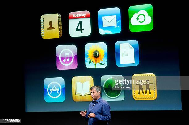 Eddie Cue senior vice president of Internet Software and Services at Apple Inc speaks about new features of the iCloud service during an event at the...