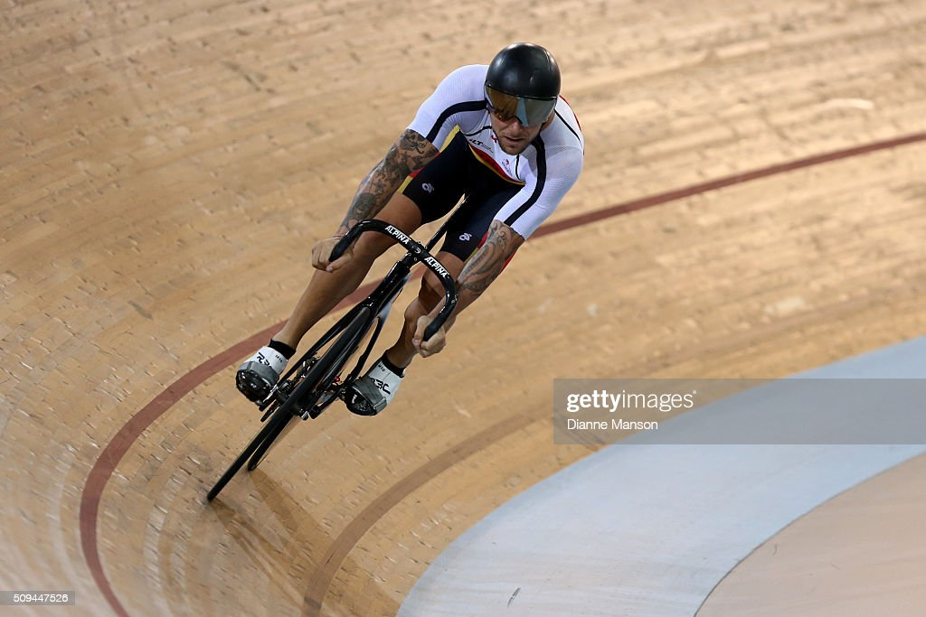 Eddie Dawkins of Southland competes in the Elite Men Sprint during the New Zealand Track National Championships on February 11, 2016 in Cambridge, New Zealand.