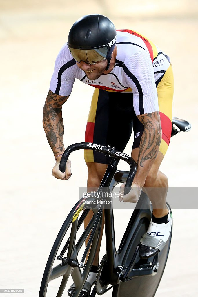Eddie Dawkins of Southland competes in the Elite Men Sprint semi final during the New Zealand Track National Championships on February 11, 2016 in Cambridge, New Zealand.