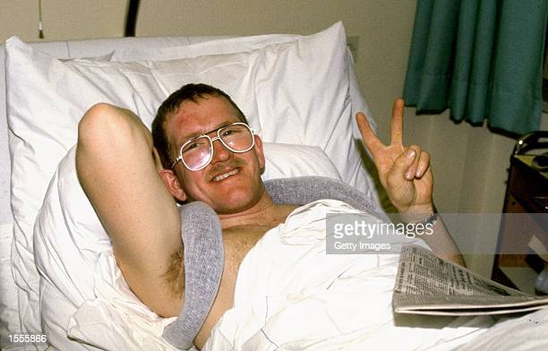 Eddie Edwards of Great Britain recovers in hospital after a crash Mandatory Credit Allsport UK /Allsport