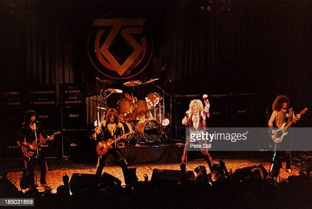 Eddie 'Fingers' Ojeda Jay Jay French AJ Pero Dee Snider and Mark Mendoza of Twisted Sister perform on stage at the Lyceum Theatre in the Strand on...