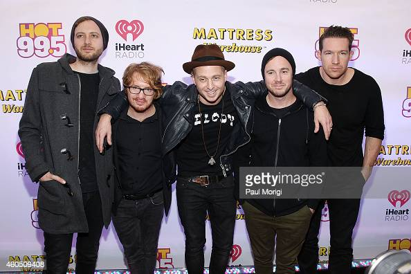 Eddie Fisher Drew Brown Zach Filkins Ryan Tedder and Brent Kutzle of OneRepublic arrive at Hot 995's Jingle Ball 2014 at the Verizon Center on...