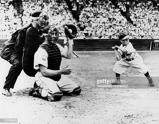 Eddie Gaedel midget hired by St Louis Browns owner Bill Veeck takes a ball as he bats during a game on August 18 1951 in St Louis Missouri