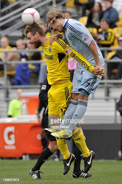 Eddie Gaven of the Columbus Crew and Chance Myers of Sporting Kansas City battle for control of the ball on October 7 2012 at Crew Stadium in...