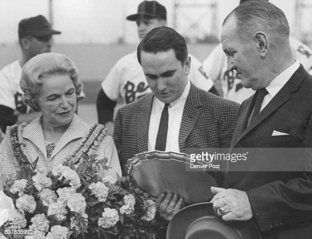 Eddie Glennon Family Baseball Honors Eddie Glennon Eddie Glennon right general manager of the Denver Bears shows his wife Sally and Son Eddie III a...