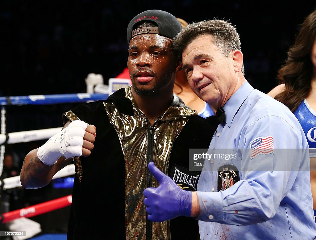 Eddie Gomez celebrates the win over Luis Hernandez at Barclays Center on April 27, 2013 in the Brooklyn borough of New York City.
