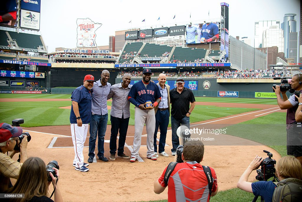 Eddie Guardado #18 of the Minnesota Twins, LeTroy Hawkins, Torii Hunter, Corey Koskie and former manager Ron Gardenhire pose for a photo with David Ortiz #34 of the Boston Red Sox during a ceremony honoring Ortiz before the game between the Minnesota Twins and the Boston Red Sox on June 10, 2016 at Target Field in Minneapolis, Minnesota. All played or coached on the Minnesota Twins with Ortiz. The Red Sox defeated the Twins 8-1.