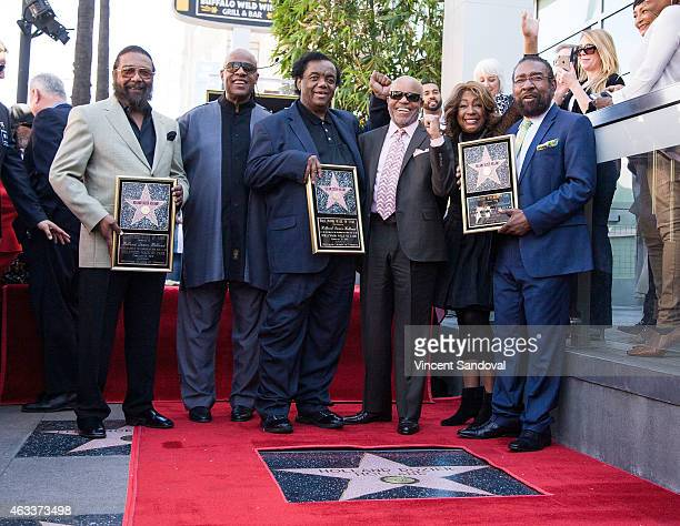 Eddie Holland Stevie Wonder Lamont Dozier Berry Gordy Mary Wilson and Brian Holland attend The Hollywood Walk of Fame ceremony honoring Brian Holland...
