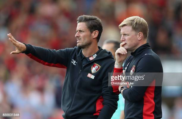 Eddie Howe Manager of AFC Bournemouth and Jason Tindall Bournemouth asistant manager looks on during the Premier League match between AFC Bournemouth...