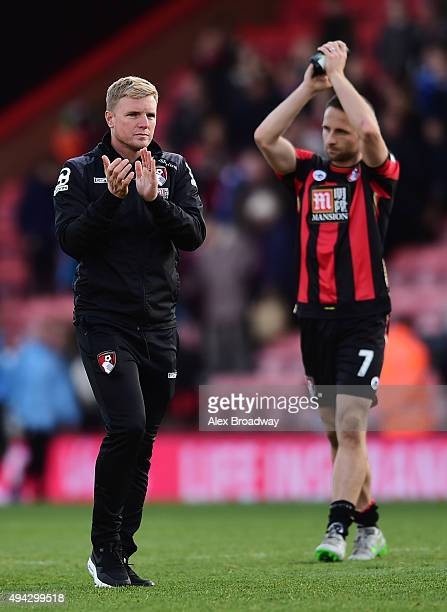 Eddie Howe manager of AFC Bournemouth and Marc Pugh of AFC Bournemouth applaud fans after the Barclays Premier League match between AFC Bournemouth...