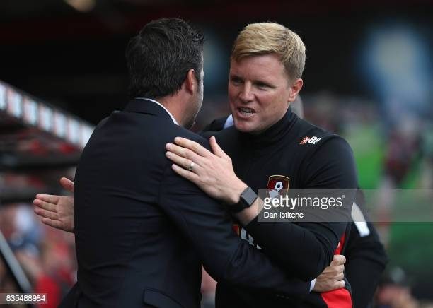 Eddie Howe Manager of AFC Bournemouth and Marco Silva Manager of Watford greet each other during the Premier League match between AFC Bournemouth and...
