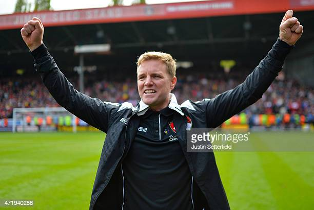 Eddie Howe Manager of AFC Bournemouth celebrates after winning the the Sky Bet Championship after the game between Charlton Athletic and AFC...