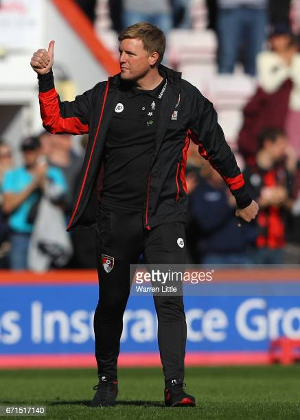 Eddie Howe Manager of AFC Bournemouth celebrates victory during the Premier League match between AFC Bournemouth and Middlesbrough at the Vitality...